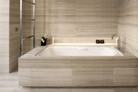 Silver Tusk Marble floor, tub surround, and wall surround! Armani Hotel Milan