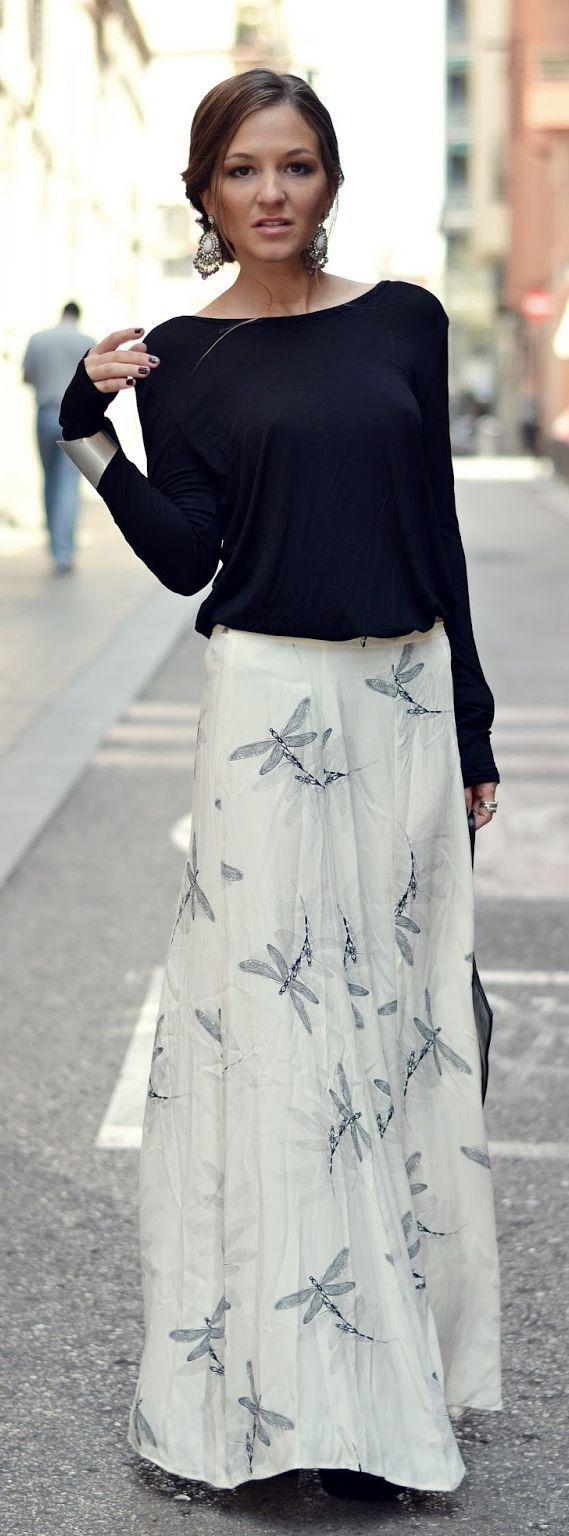 Linda combinación de falda larga con sueter