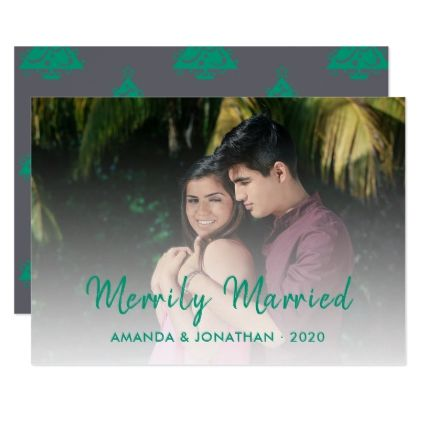 Merrily Married grey and emerald green Chevron Card - married gifts wedding anniversary marriage party diy cyo