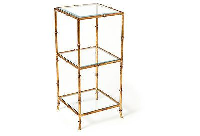 Hollywood Regency Chinese Asian Ant. Gold Glass Bamboo Etagere Shelf Plant Stand