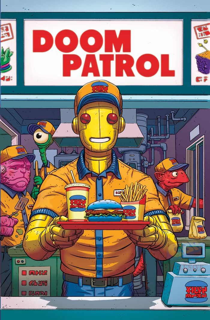 DOOM PATROL #4  Written by GERARD WAY—Art and cover by NICK DERINGTON—Variant cover by PAUL RENTLER  Everything is getting stranger and stranger for Casey Brinke. The secrets she's learned about her true origin do a little to explain the bizarre new surroundings she finds herself in, but not why she's attracting the members of Doom Patrol like so many flies. Also, find out the secret ingredient that makes Danny Burgers so delicious!  This issue features a variant cover by Paul Rentler that