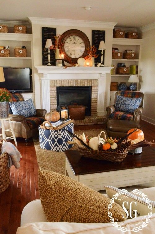 STONEGABLE FALL HOUSE TOUR This is one of my favorite livingrooms...colors,furniture...but, most of all....it looks so comfortable.