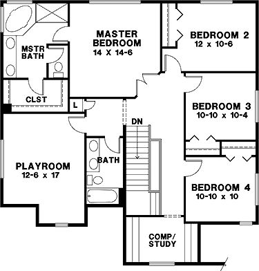 Craftsman 2 story 2nd floor four bedroom craftsman for Second story floor plan