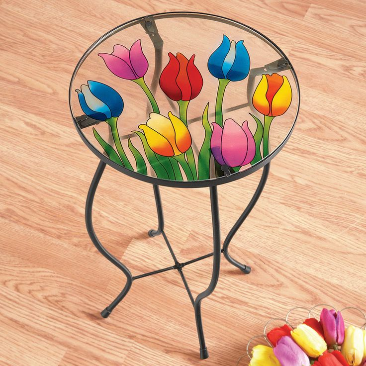 "Tulip Glass Accent Table End Plant Stand 12"" Dia x 21 1'4"" H #Collections"