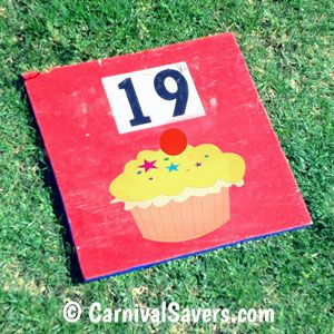 Cake Walk Number on a Wood Board