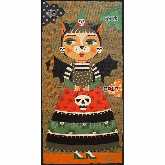 Halloween Black Cat And Skull Print By LuLu Mypinkturtle