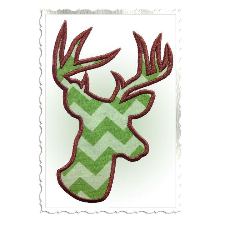 Applique deer head buck silhouette machine embroidery