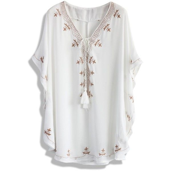 Chicwish Morning Breeze Embroidered Smock Top ($36) ❤ liked on Polyvore featuring tops, white, smock tops, chiffon top, smocked top, embroidery top and lace up top