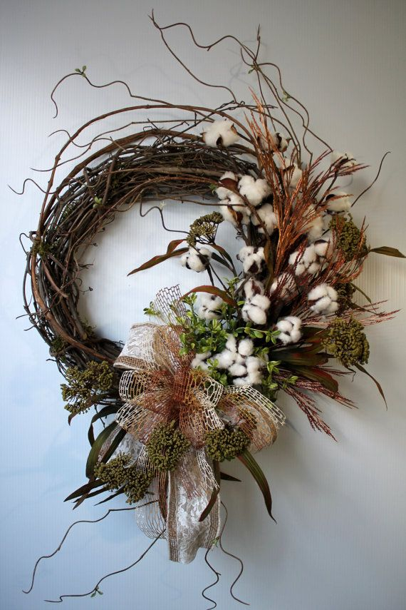 Primitive Cotton Boll Wreath, Raw Cotton Bolls, Country Wreath, Burlap Bow, Fall Wreaths, Everyday Wreaths, Primitive Decor, Country Decor