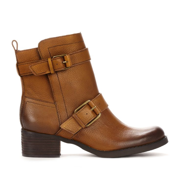 Brown Bootie : Love the buckles!