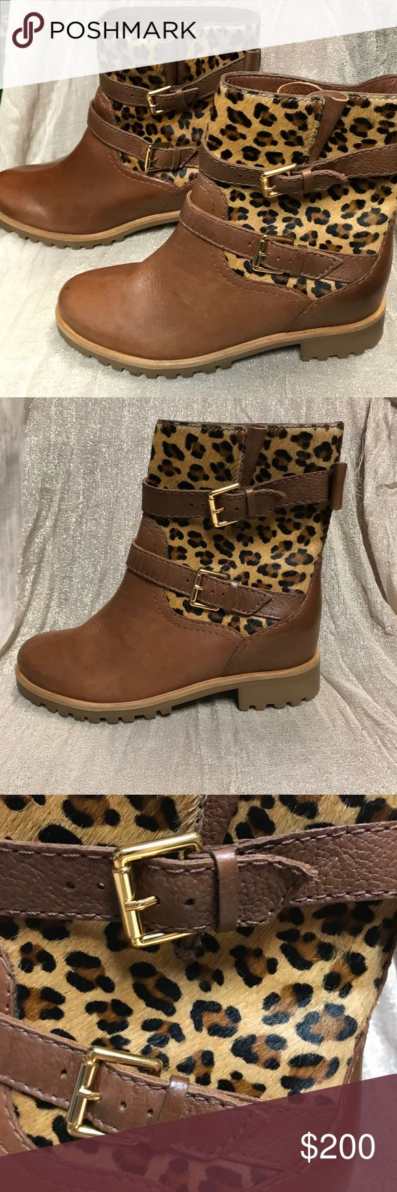 """Kate Spade Sonia Cheetah Buckle Boots DETAILS & CARE A bow-accented belt cinches the expandable, genuine calf hair shaft of a supple leather boot finished with a tiny goldtone spade charm in back. 1 1/4"""" heel (size 9M). 7"""" boot shaft. Adjustable straps with buckle closure. Genuine calf hair (Brazil) and leather upper/leather lining/rubber sole. By kate spade new york; made in Brazil. Salon Shoes. Size is 7W kate spade Shoes"""