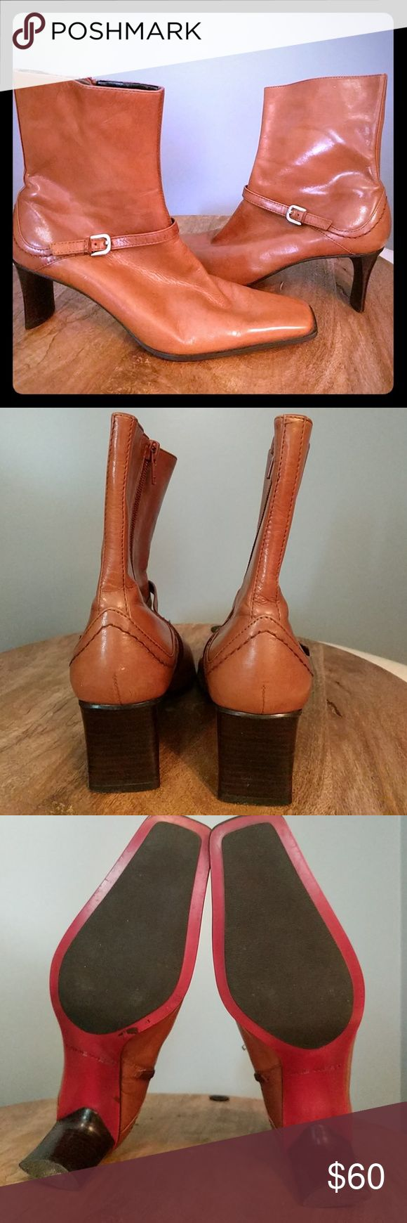 Nine West Tan Leather Ankle Boot Lagosta Gorgeous tan leather ankle boots with 2.5 heel Square toe and buckle detail Soles have minimal to no wear 5th picture shows imperfection Nine West Shoes Ankle Boots & Booties