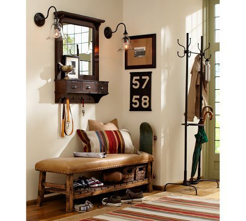 Wall Mount Entryway Organizer Mirror Pottery Barn Entry Way Porch Pinterest Dhurrie