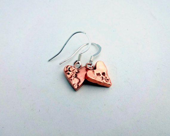 Tiny Copper Heart Earrings Dainty Earrings by ShineOnShopUK