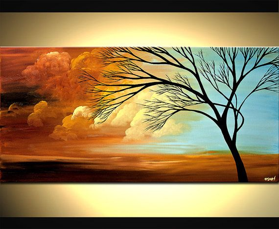 Contemporary Tree Painting Blue Landscape Abstract by OsnatFineArt