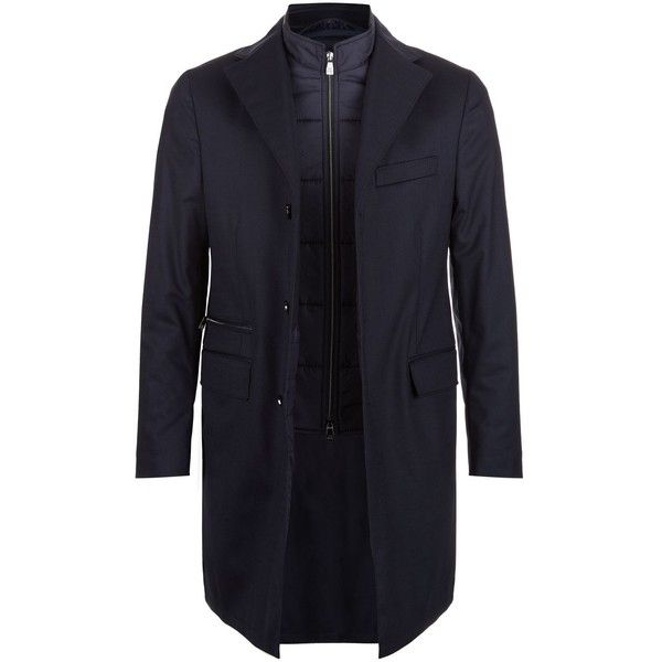 Corneliani Quilted Insert Overcoat (81.300 RUB) ❤ liked on Polyvore featuring men's fashion, men's clothing, men's outerwear, men's coats and mens quilted coat