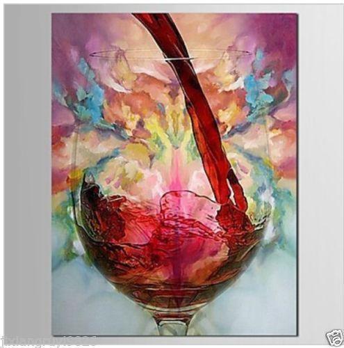 Pintado A mano Pintura Al Óleo sobre lienzo-Naturaleza Muerta Vino Tinto Abstracta (Sin Marco)