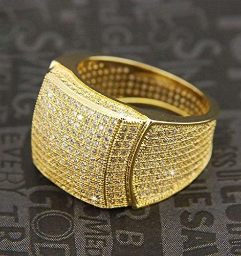 Janestore Fashion Men Rock Golden All Around CZ Band Fully Hand Setting Pinky Ring