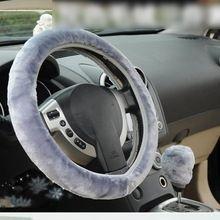 Universal Winter Warm Steering Wheel Cover Warm Long Wool Plush Steering Wheel Cover Faux Fur Handbrake Auto Accessories