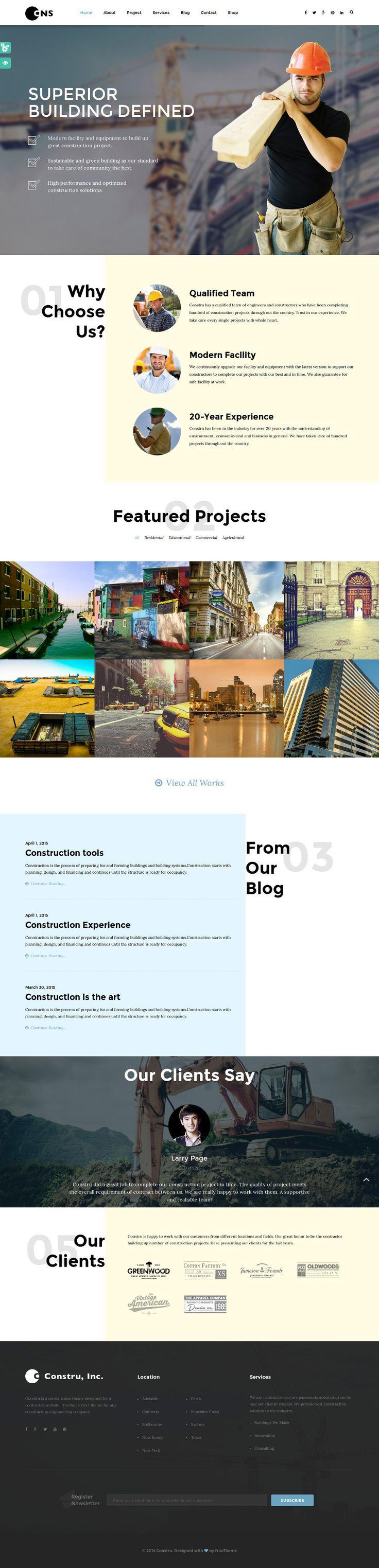 Constru - Construction WordPress Theme on Behance