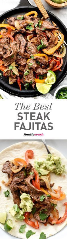 The homemade fajita spice mix is what makes these Steak Fajitas the best I've ever eaten | http://foodiecrush.com