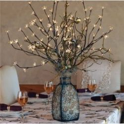 Centerpieces with Lights - Wire Lights & Branches. This would be adorable with antique vases/jugs.