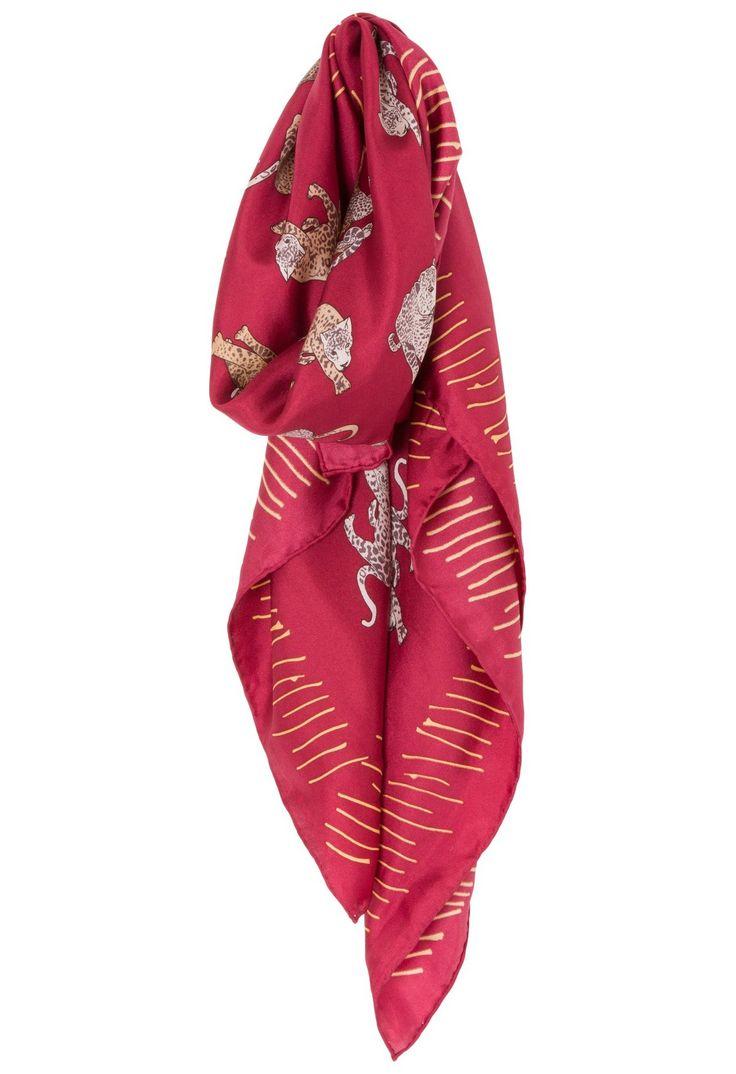 ANIMALE - Lenço seda jaguar Animale - vermelho - OQVestir