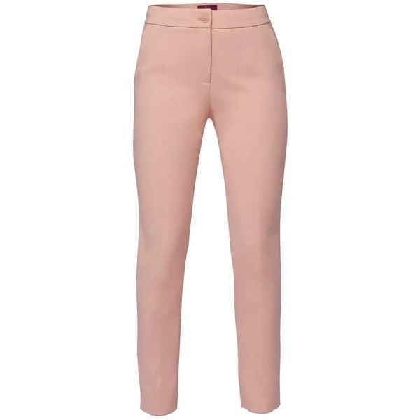 WtR - Swanky Slit Trousers Salmon ($420) ❤ liked on Polyvore featuring pants, straight leg trousers, cuffed pants, salmon pants, wtr and tailored trousers