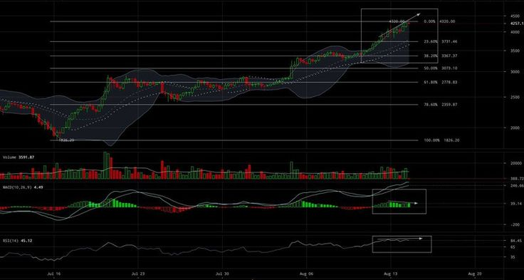 Bitcoin Price Analysis: Still More Room at the Top For Now    While many fear BTC-USD is entering bubble territory others are calling for even higher price targets. Politics aside there is a clear push for higher BTC-USD prices and its creating market uncertainty.  Here are the facts:  30 days ago BTC-USD was $1800.  Today the price of BTC-USD has risen 130% and has managed to establish an all time high at $4300.  In 5 days alone the price of BTC-USD has increased its market value by 30%…