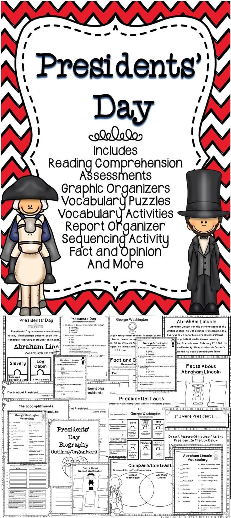 Classroom Activities -  This Presidents' Day activity pack is filled with literacy activities for children.