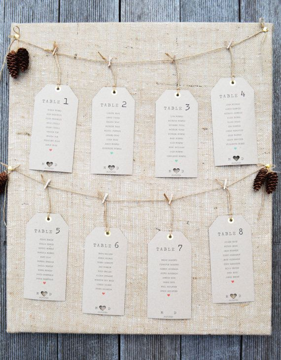 Rustic Luggage Tag Table Plan - kraft fleck paper with twine and mini pegs