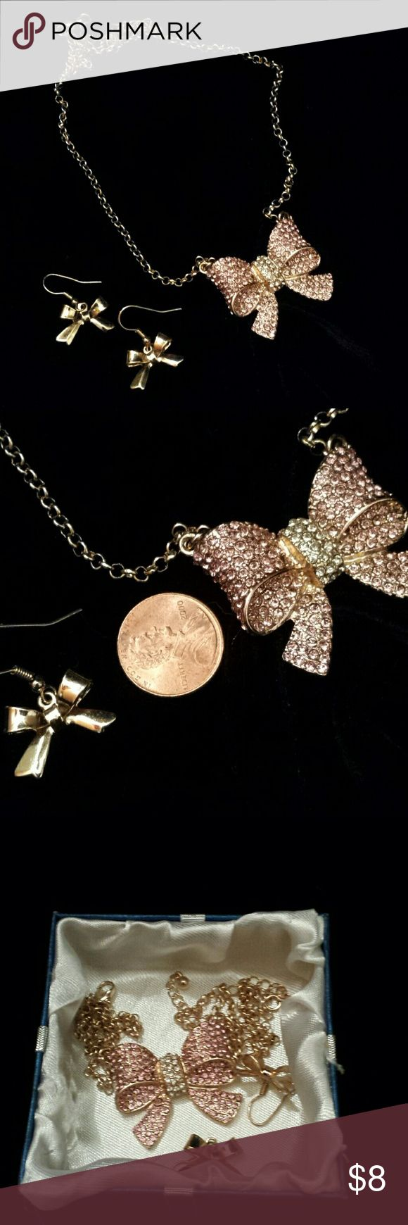Pink Pave` Rhinestone Bow Necklace And Earrings