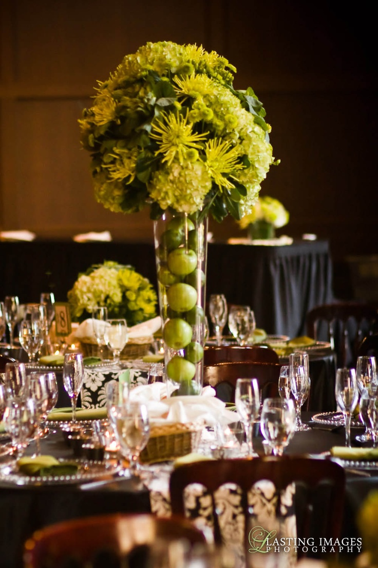 Apple decorations wedding - Wedding Table Centerpieces Green Flowers And Apples More Wedding Ideas At Www