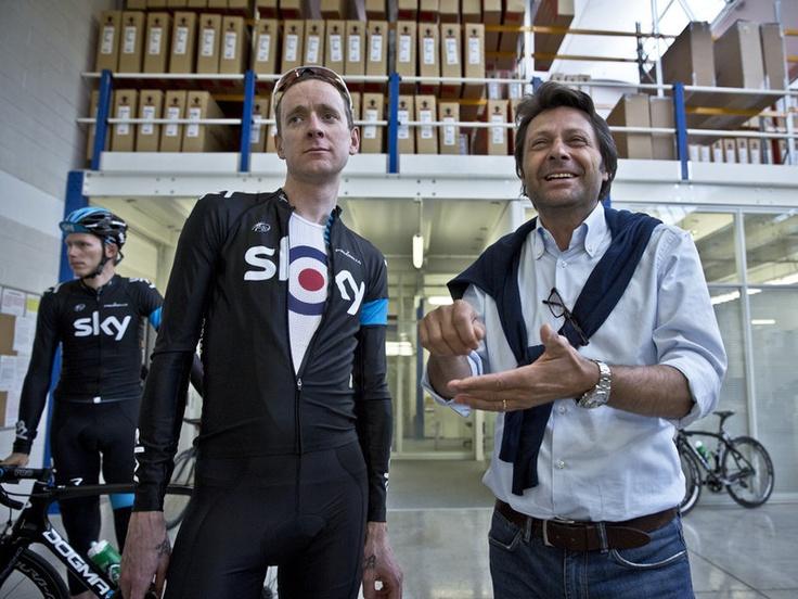 Fausto Pinarello was the happy tour guide for Bradley Wiggins at the Pinarello Factory - Team Sky | Pro Cycling | Giro dItalia | Latest News | Scott Mitchell - Giro Rest Day Gallery