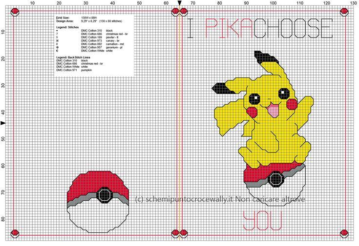 Biglietto punto croce per fidanzato fidanzata Pokemon I Pikachoose You idea regalo