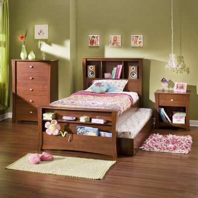 The Jumper Twin Mates Bookcase Bed Collection includes all you need to complete your kids bedroom in classic elegant style. The six-piece collection features a kids chest kids nightstand and a four-part kids bed: footboard headboard bed frame and trundle bed. You choose which components you'd like.  The solid natural wood frames are finished in rich alluring cherry and the pieces are finely crafted in elegant transitional style with curved legs a