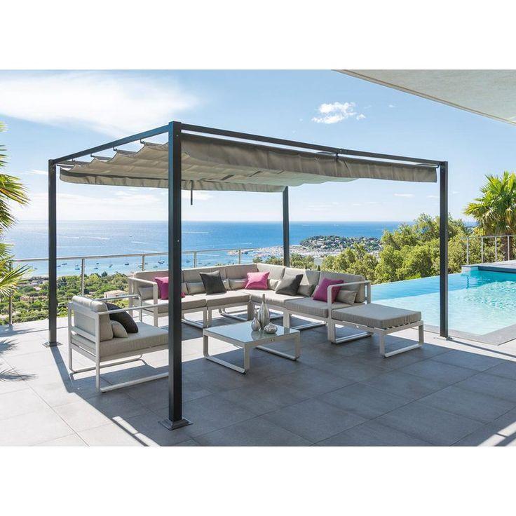 Tonnelle de jardin ELLISTON 3 x 4 m avec toit rétractable Hespéride - 123961 - Jardin piscine