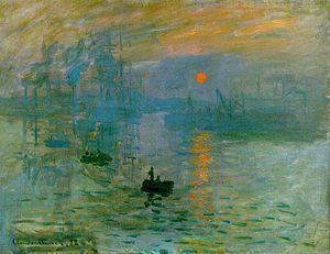 Impresión, sol naciente.   Obra perteneciente al impresionismo y realizada por Monet en el año 1874. Destaca las características de las obras impresionistas de retratar paisajes un momento instantáneo.