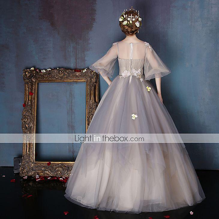 Evento Formal Vestido Linha A Decorado com Bijuteria Longo Tule / Charmeuse com Miçangas / Pregueado / Flor(es) / Lantejoulas de 5278802 2017 por R$946,37