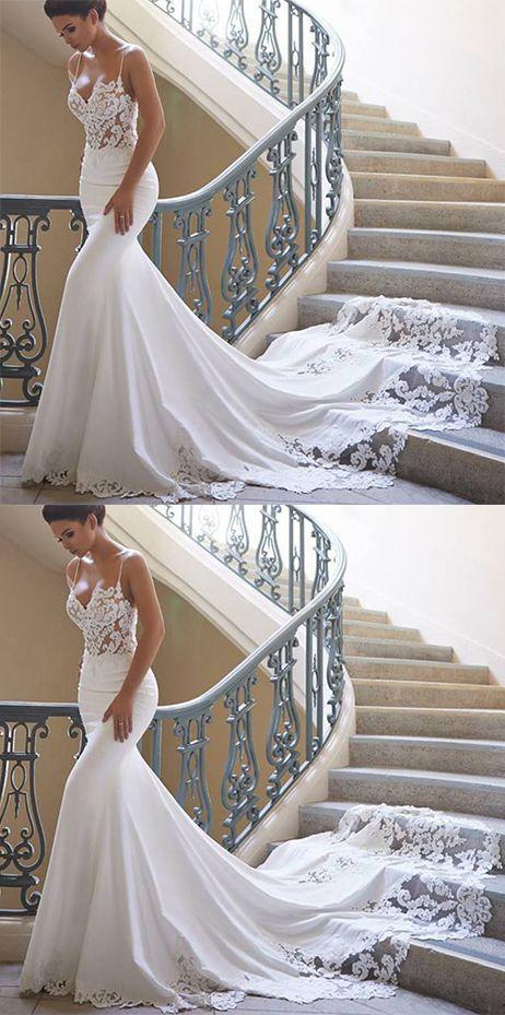 2018 Vestidos de novia de la sirena de las correas de espagueti Spandex con el t…