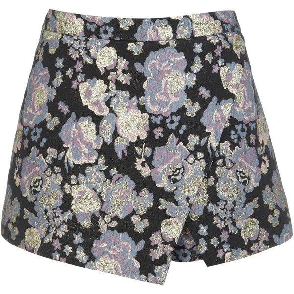 Miss Selfridge Floral Jacquard Skort (27 BRL) ❤ liked on Polyvore featuring skirts, mini skirts, black, sale, miss selfridge, jacquard skirt, floral printed skirt, floral mini skirt and skort skirt
