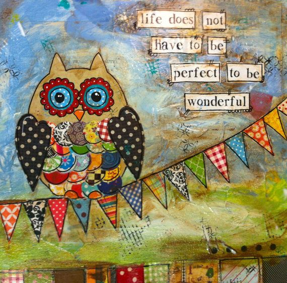 "12x12 handpainted mixed media Canvas  ""Life does not have to be perfect to be wonderful"" on Etsy, $60.00"
