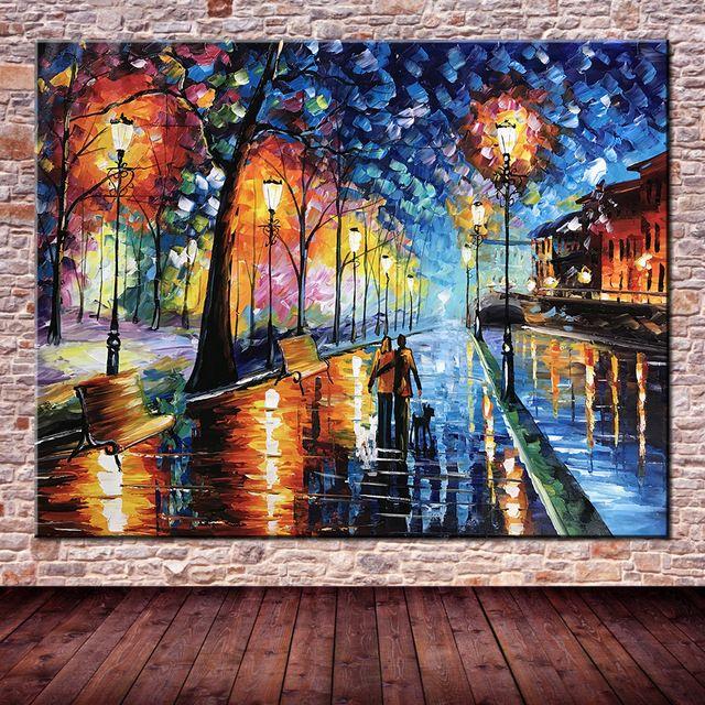 Lámpara Árbol de La Calle Amante de Lluvia grande Pintado A Mano Paisaje Pintura Al Óleo en la Pared de La Lona Arte de La Pared Cuadros Para la Sala de Casa decoración