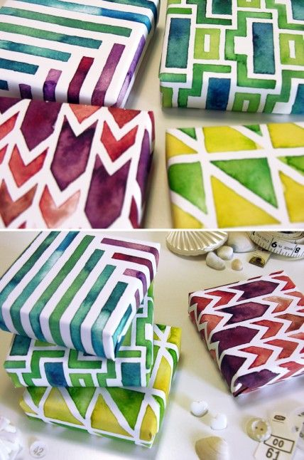 jewel tone gift boxes created using pencil, pen, and watercolors with the computer. these lovelies are wrapped in a selection of custom-painted, and modern geometric watercolor-patterns.
