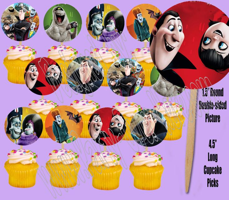 HOTEL TRANSYLVANIA Movie Double-Sided Cupcake Picks Cake Toppers -12 pcs | Home & Garden, Greeting Cards & Party Supply, Party Supplies | eBay!