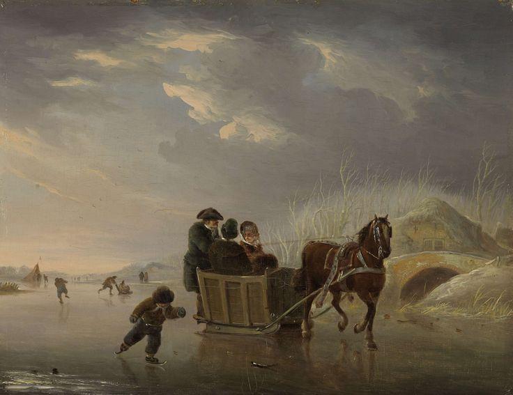 Andries Vermeulen | Winter Scene (Horse-Sleigh on the Ice), Andries Vermeulen, 1790 - 1814 | Sledevaart op het ijs. Winterlandschap met een arrenslee en schaatsers op het ijs.