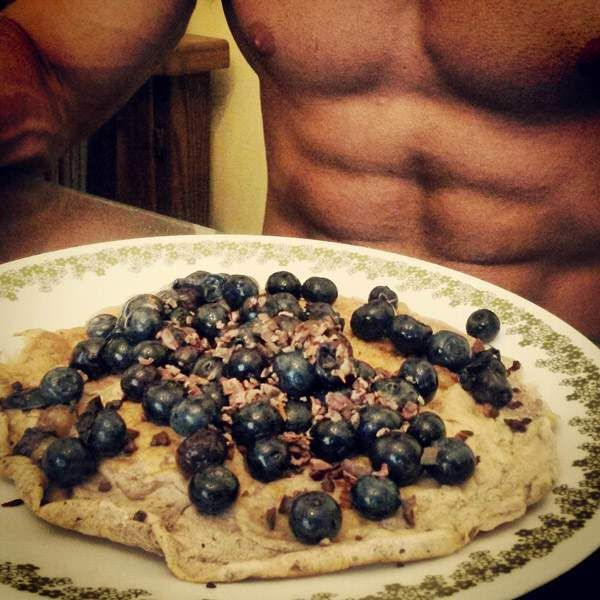 Recetas fitness de panqueque con Arándanos. Alto en proteinas y bajo en carbohidratos y grasa