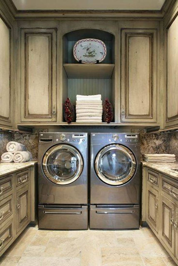 Storage And Organization , Laundry Room Storage Cabinets Ideas : Laundry Room Storage Cabinets With Distressed Cabinets And Silver Washing Machine