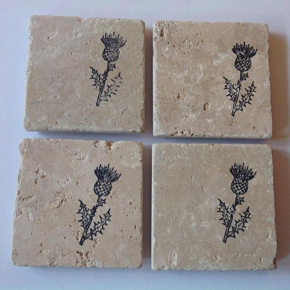 Set of 4 Scottish thistle coasters  high quality  made in