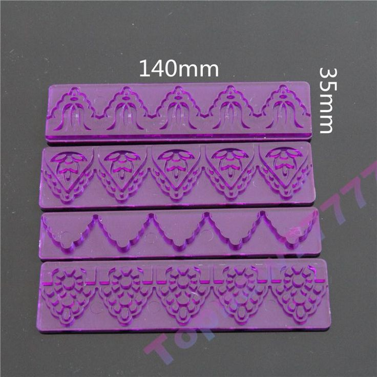 Topnew 4pcs DIY Fondant Cake Decorating Edge Frill Ribbon Embossed Sugar Craft Modelling Cutter Mold